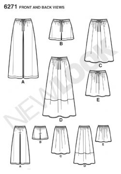 6271 New Look Pattern: Misses' Skirt in Three Lengths and Drawstring Waist Trousers or Shorts